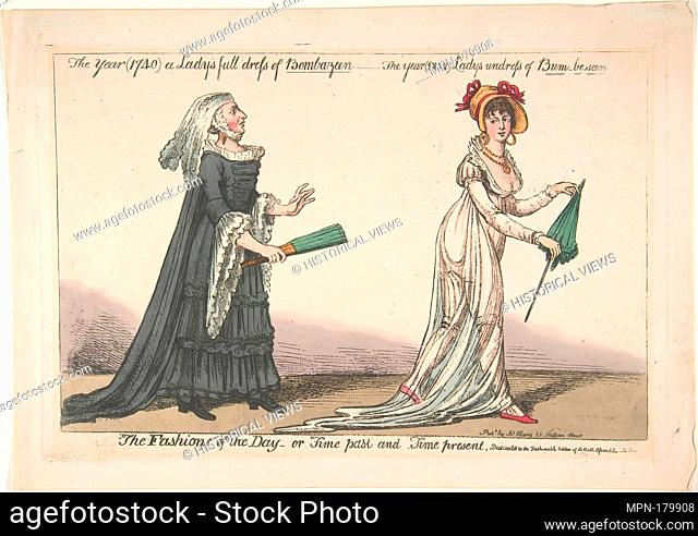 The Fashions of the Day - or Time Past and Time Present: The Year (1740) a Lady's Full Dress of Bombazeen - The Year (1808) Lady's Undress of Bum-be-seen