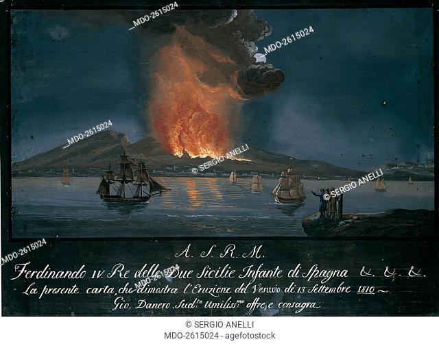 Eruption of the Vesuvium (Eruzione del Vesuvio), by unknown artist, 1810, 19th Century, oil on canvas. Whole artwork view