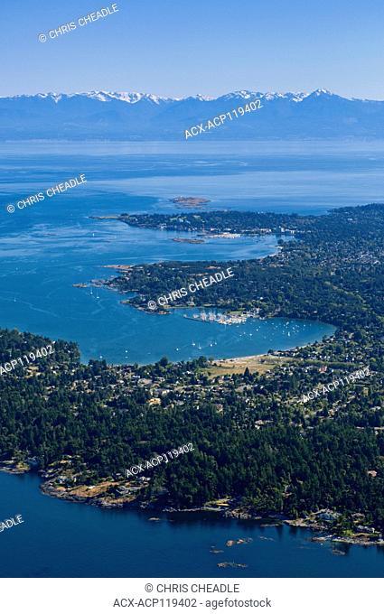 Cadboro Bay, Oak Bay, Juan de Fuca Strait and Olympic Mountains in distance, Saanich, British Columbia, Canada