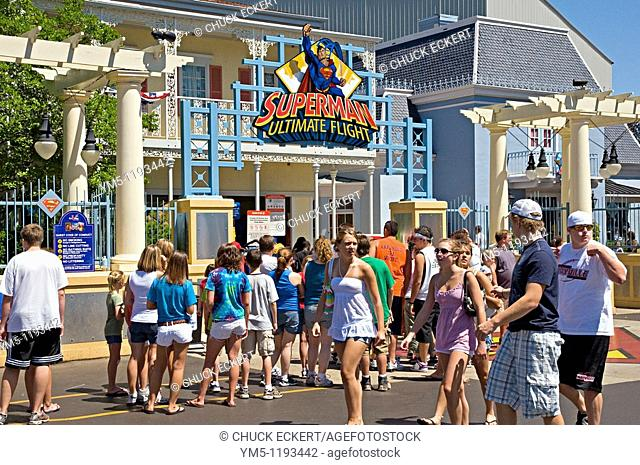 Youths waiting in line at entrance to the Superman ride at Six Flags Great America, Gurnee, Illinois, USA