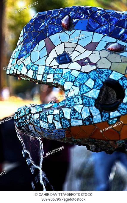 Spain, Cataluna, Barcelona, el Coll, Detail of the multicoloured mosaic dragon fountain in Park Guell
