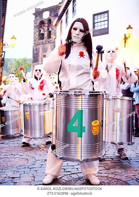 Unidentified people enjoying the carnival in Santa Cruz de La Palma on March 2, 2014, Canary Islands, Spain