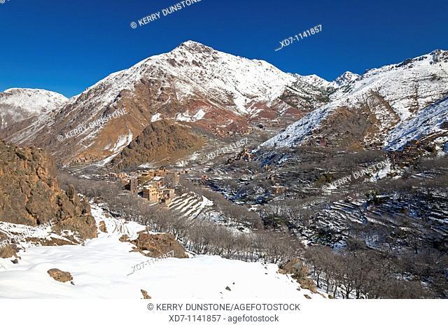 Morocco High Atlas Mountains Imlil Mountainous valley with distant village