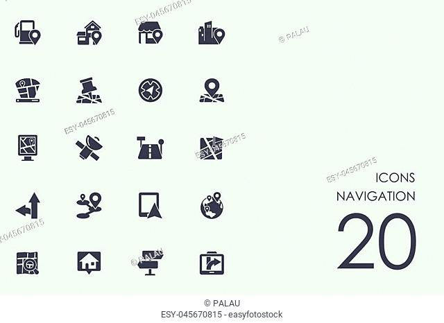 navigation vector set of modern simple icons