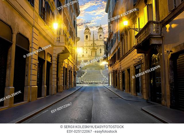 Street with road to Spanish Stairs in Rome, Italy