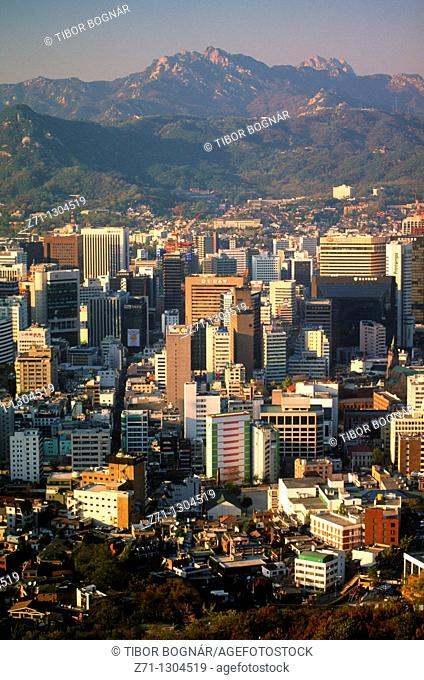 South Korea, Seoul, skyline, downtown general aerial view