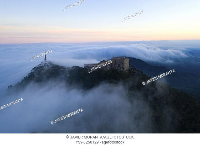 Aerial image of Sanctuary of San Salvador located in Felanitx, Mallorca