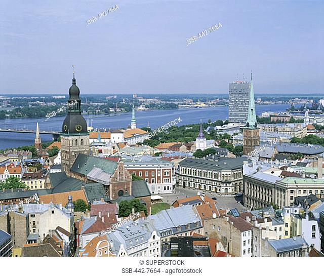 View from St. Peter's Church, City Skyline, Riga, Latvia