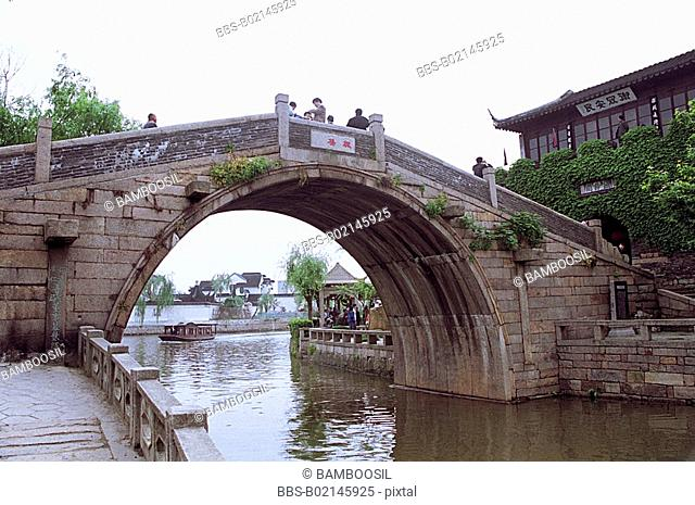 Tourists on Feng bridge in Suzhou City, Jiangsu Province of People's Republic of China
