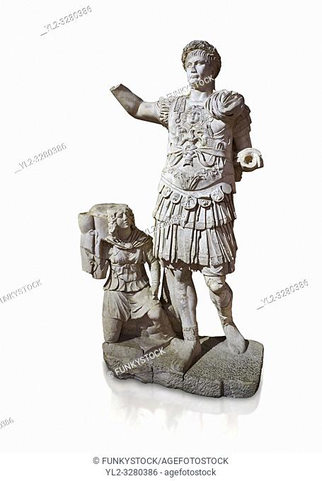 Roman statue of Emperor Trajan. Marble. Perge. 2nd century AD. Inv no11. 13. 79 . Antalya Archaeology Museum; Turkey. Against a white background
