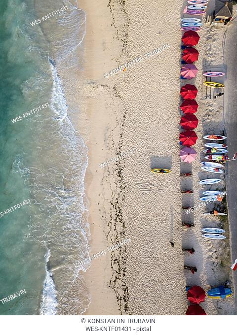 Indonesia, Bali, Aerial view of Pandawa beach