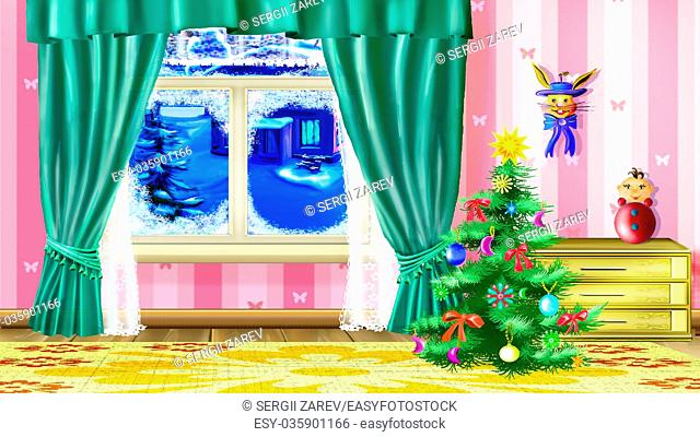Christmas Tree in a Living Room with furniture and toys. Handmade illustration in a classic cartoon style