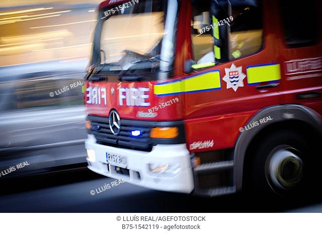 London Fire Brigade, Fire truck, London, England, Uk