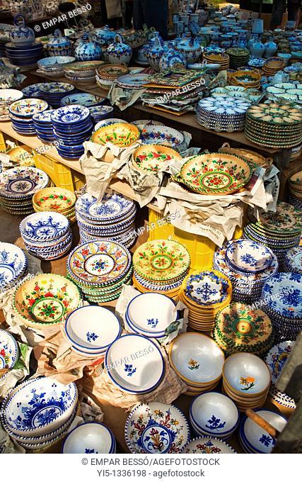 typical street market named escuradeta, pottery market, only in May, Plaza de la Reina, Valencia, Spain