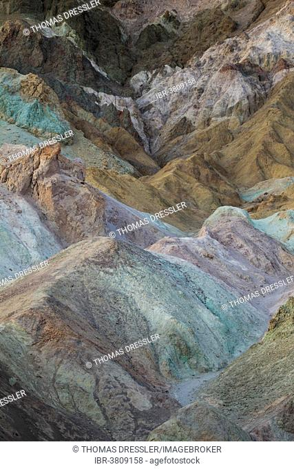 The colorful rocks of the Artist's Palette at dusk, Black Mountains, Death Valley, Death Valley National Park, California, USA