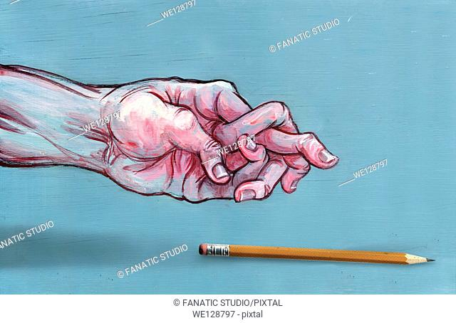 Illustrative image of man's hand with jumbled fingers and pen representing Arthritis