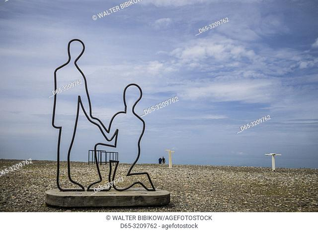 Georgia, Batumi, Batumi Boulevard, seaside promenade, beachfront statue, NR