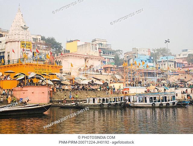 Temples at the riverbank, Das Ashvamedha Ghat, Ganges River, Varanasi, Uttar Pradesh, India