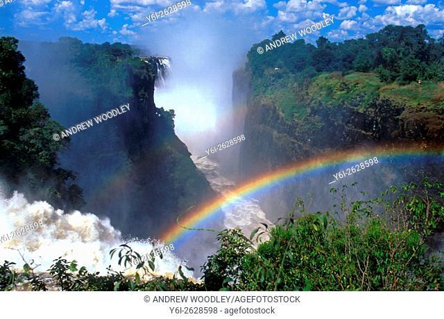 Aerial image of Victoria Falls with rainbow Mosi-oa-Tunya Zimbabwe