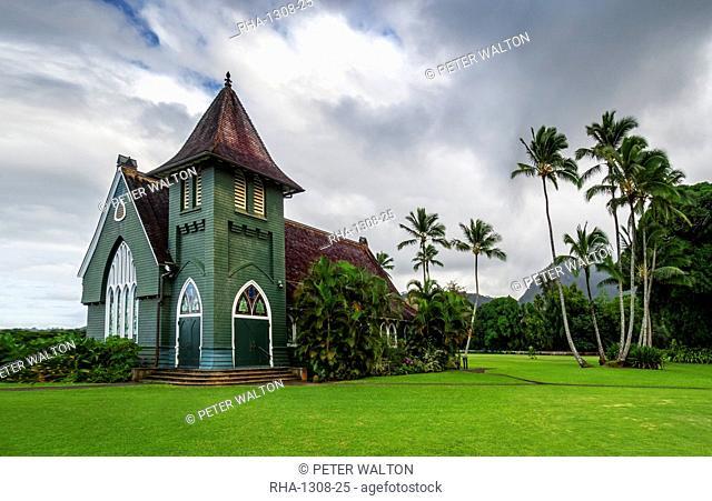 Gothic style Christian church, Wai'oli Hui'ia in Hanalei, Hawaii, United States of America
