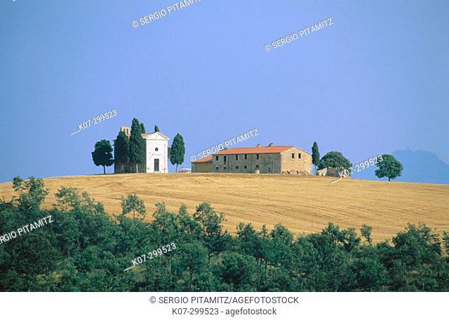 Vitaleta Chapel near Pienza. Val d'Orcia. Siena province. Tuscany, Italy