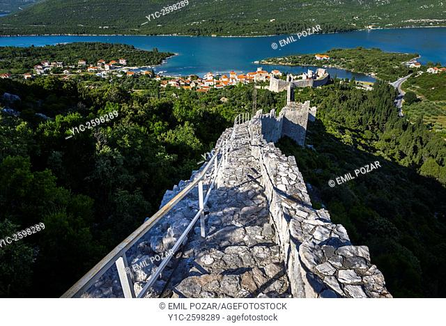 Ston old town in Dalmatia, Croatia, medieval fortifications