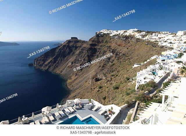 Firostefani foreground, Imerovigli background, Santorini, Greece