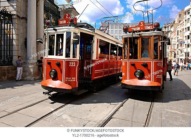 historic tram of Istiklal Avenue or Istiklal Street Istiklâl Caddesi, French: Grande Rue de Péra, or Independence Avenue one of the most famous avenues in...