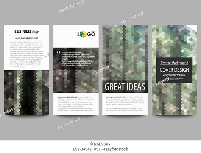 Flyers set, modern banners. Business templates. Cover design template, easy editable abstract vector layouts. Colorful background made of hexagonal texture for...