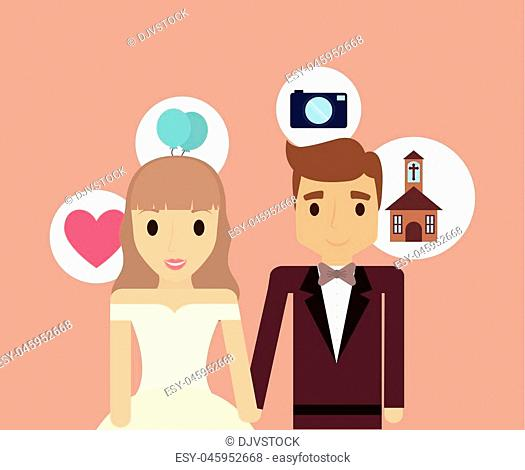 cartoon wedding couple with related icons around over brown background, colorful design. vector illustration