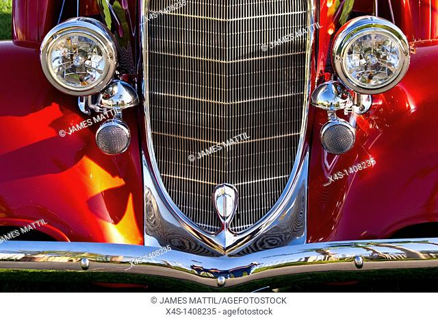 Close-up of 1934 Dodge fender, grille and headlamps of a classic car