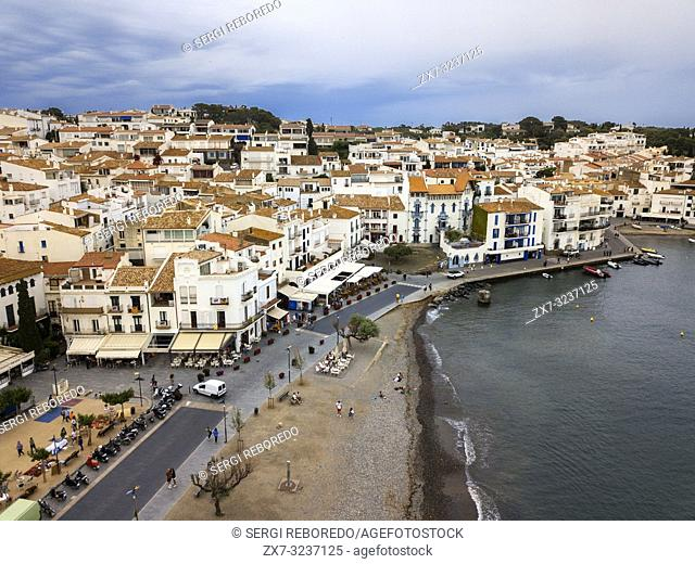 Cadaques, a small coastal town, is the people of the Catalan painter Salvador Dalí. The Church of Cadaqués is a symbol. Costa Brava, Girona Catalonia Spain
