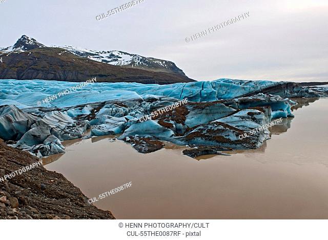 Svinafellsjokull glacier melting, Skaftafell national park, Iceland
