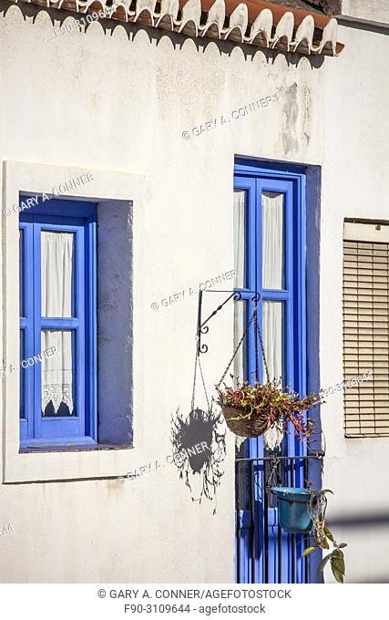 Typical blue trim color of house in Salobreña, Granada, Spain