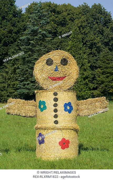 Human form made out of Hay bales, Munich, Germany