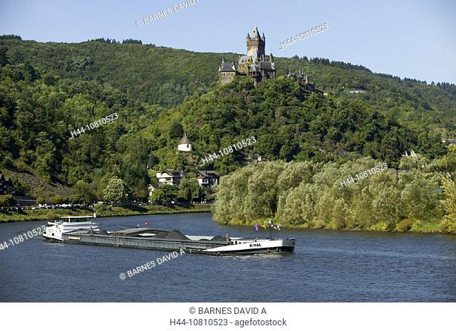 castle, Cochem, Germany, Europe, journey, Moselle, Rhineland Palatinate, river, ship, tourism, transport, valley, vi