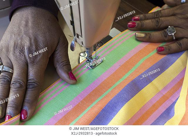 Spartanburg, South Carolina - Senior citizens in the sewing program at the Bethlehem Center, a community center serving the African-American Highland...