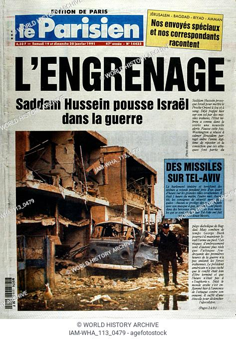 Front Page of the French publication 'Le Parisien' reporting that Israel has been targeted by Iraq during the Gulf War; January 1991