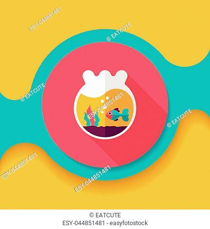 Pet goldfish bowl flat icon with long shadow,eps10