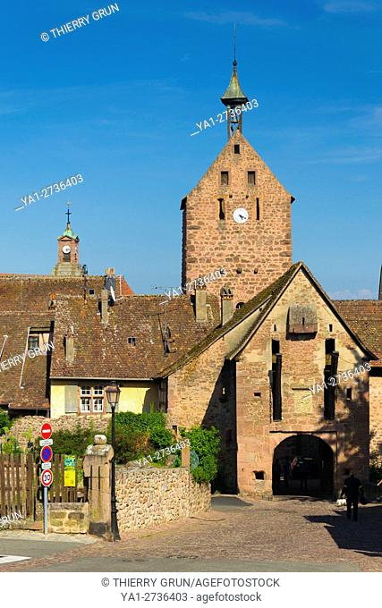 France, Haut-Rhin (68), Wine road, Riquewihr, medieval gate west of the village