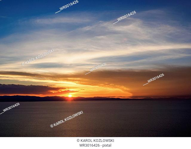 Lake Titicaca seen from the Mount Calvario in Copacabana, sunset, La Paz Department, Bolivia, South America
