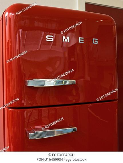 Close-up of red Smeg fridge-freezer