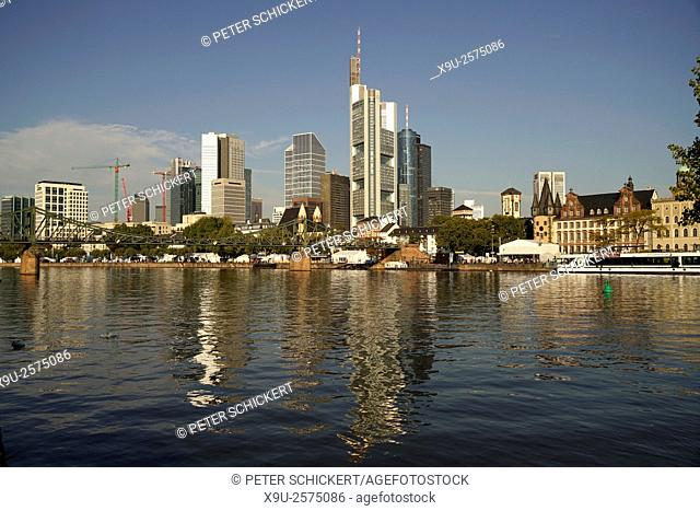 Cityscape with skyline, Financial District and Main river, Frankfurt am Main, Hesse, Germany, Europe. . . . . . .