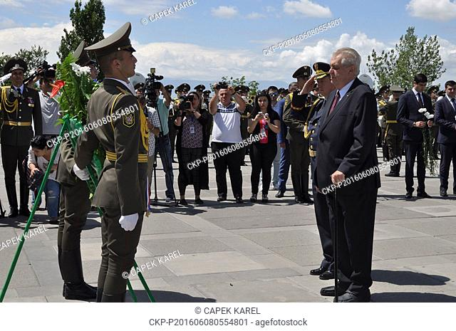 Czech President Milos Zeman paid respects to the victims of the massacre of Armenians in 1915 by Ottoman Turkey at the genocide memorial where he laid a wreath...