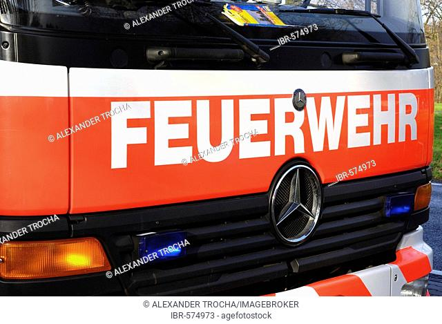 Modern fire engine of the fire service Frankfurt am Main, Hesse, Germany