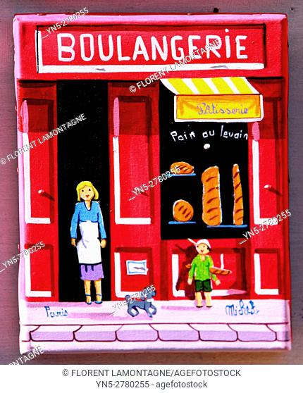 Souvenir of Paris, painting of a typical french shop