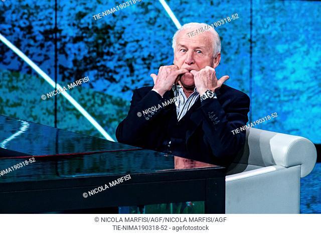 Soccer Coach Giovanni Trapattoni during the tv show Che tempo che fa, Milan, ITALY-18-03-2018