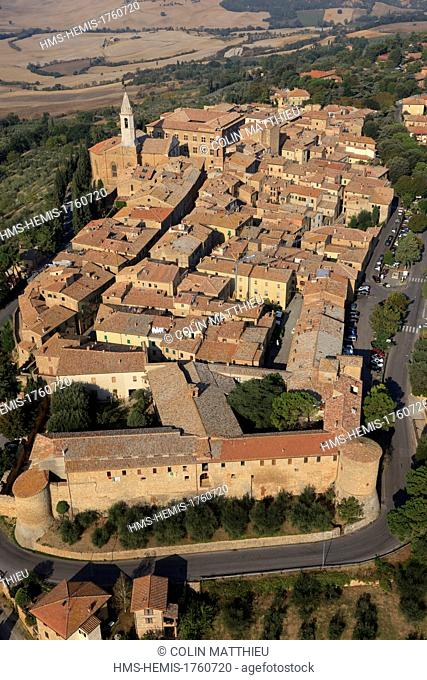 Italy, Tuscany, Siena countryside, Val d'Orcia, listed as World Heritage by UNESCO, Pienza (aerial view)
