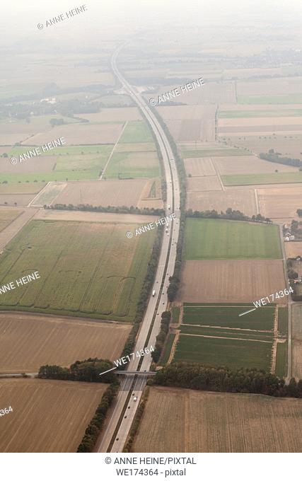Aerial photo of Soester Börde, Haarstrang, Germany. Highway A44 along Haarstrang