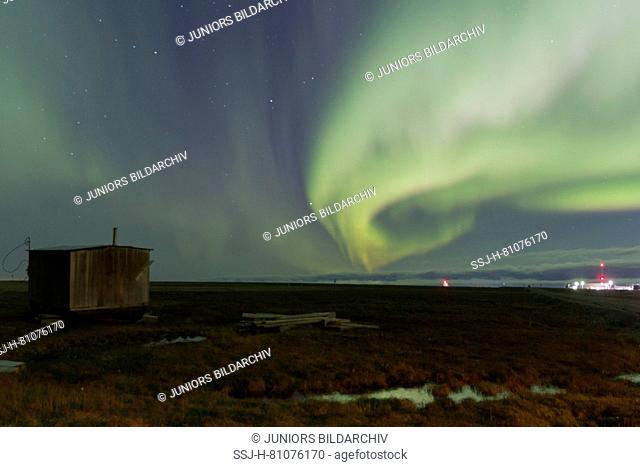 Northern Lights, village of Kaktovik. United States, Alaska, Arctic National Wildlife Refuge, North Slope Borough